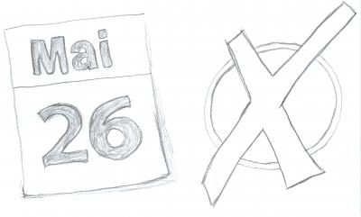 Gezeichnetes Kalenderblatt vom 26. Mai und ein Wahlkreuz